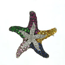 Load image into Gallery viewer, 14K White Gold Diamond & Multi Color Sapphire Starfish Brooch Pendant