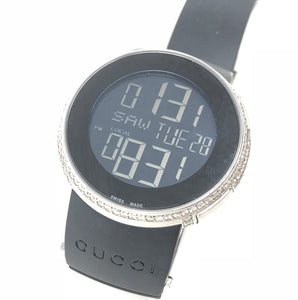 Gucci 2.00ctw Diamond Digital 316L Rubber Band Watch