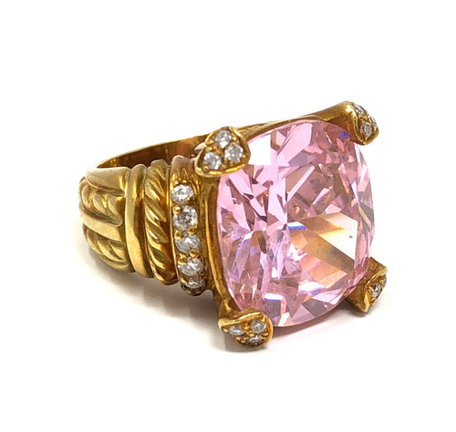 Judith Ripka Fontaine Diamond Pink Crystal 18k Yellow Gold Ring Size 3.75