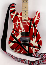 "Load image into Gallery viewer, EVH ""Frankenstrat""  Striped Series Electric Guitar (Red with Black and White Stripes) Van Halen w/ Case"