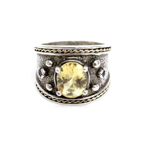 Silver/14k Yellow Gold Yellow Quartz Fashion Ring