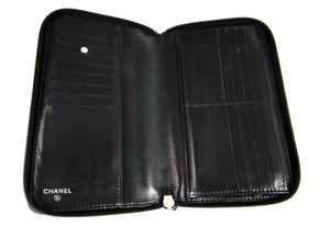 Black Camellia Embossed Lambskin Leather Wallet