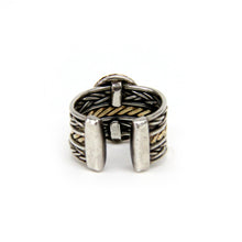 Load image into Gallery viewer, Ladies Rizzo Sterling Silver & 14K Yellow Gold Cable Ring