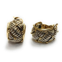 Load image into Gallery viewer, Vintage Hermés 18K & Sterling Silver Woven Pattern Clip-On Earrings