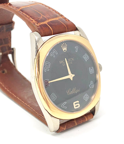 Rolex Geneve Cellini Time 18K Two Tone Watch, Model 4233 Alligator Strap
