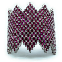 Load image into Gallery viewer, 18K White Gold 13.76ctw Diamond & 47.16ctw Ruby Wide Hinged Cuff Bracelet