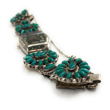 Load image into Gallery viewer, Vintage Zuni Sterling Silver Petit Point Turquoise Bracelet Watch Band