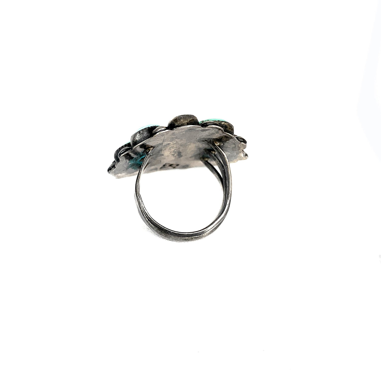 Vintage 1950s Jacob Kahe Native American Sterling Silver Turquoise Petit Point Ring - Sz. 4