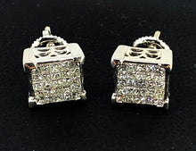 Load image into Gallery viewer, BEAUTIFUL 3.00ctw Princess Cut Diamond & 14K White Gold Earrings