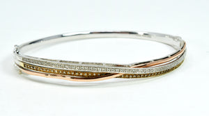 White Diamond 14K Tri-Color Gold Over Silver Bangle Bracelet