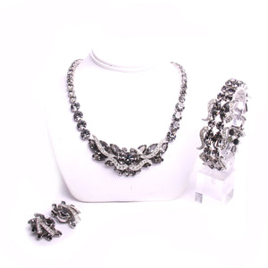 Weiss Rhodium Plated Silver Tone Costume Jewelry Set of Necklace Earrings and Bracelet