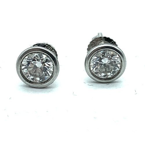 Tiffany & Co. Elsa Peretti Platinum 1.50ctw Diamond Stud Earrings