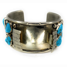 Load image into Gallery viewer, Vintage Navajo Sterling Silver Turquoise & Red Coral Cabochon Watch Cuff Bracelet