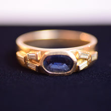Load image into Gallery viewer, 18K Yellow Gold Baguette-Cut Diamonds and Oval Sapphire Ring, Size 6.5