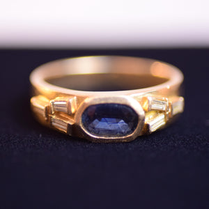18K Yellow Gold Baguette-Cut Diamonds and Oval Sapphire Ring, Size 6.5