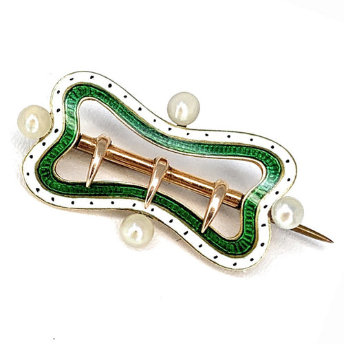 Antique 18K Gold Enamel & Natural Pearl Brooch pin