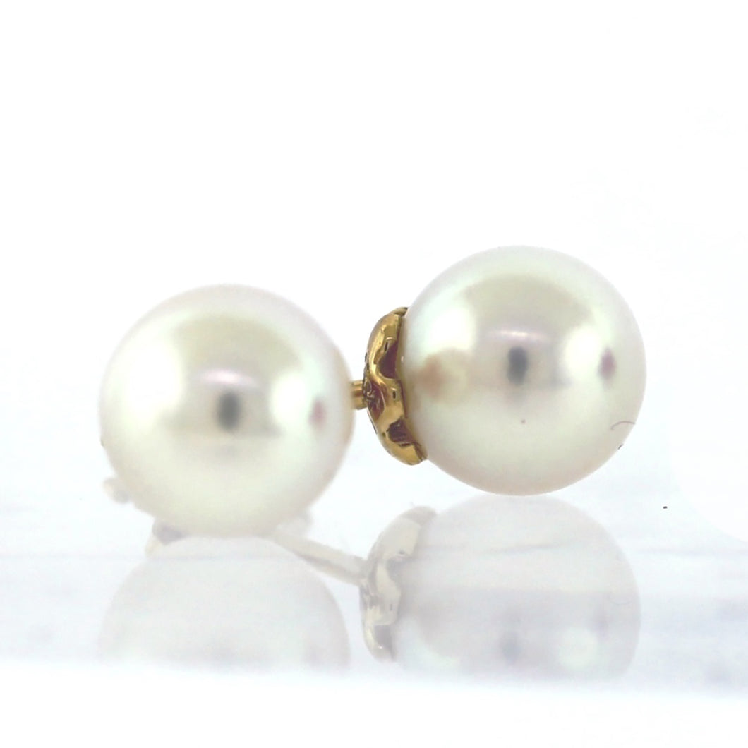 Cartier White South Sea Pearl 9mm 18K Yellow Gold Earrings
