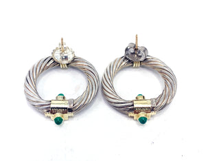 David Yurman Sterling Silver 14K Gold Lolite & Chrysoprase Doorknocker Earrings