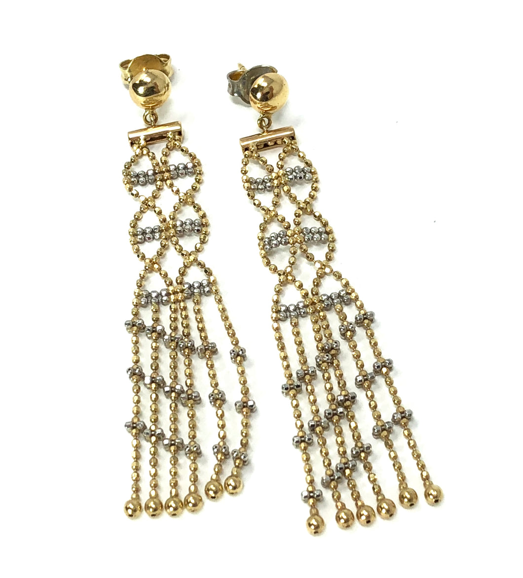 14k Gold Chandelier Ice Lace Dangle Earrings