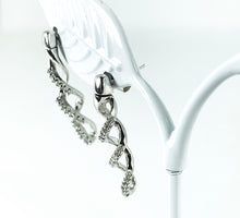 Load image into Gallery viewer, 0.33ctw Diamond Swirl Drop Earrings in 10K White Gold<