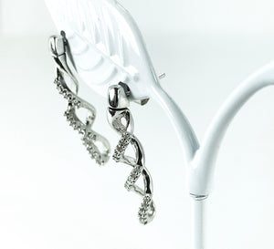 0.33ctw Diamond Swirl Drop Earrings in 10K White Gold<