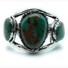 Load image into Gallery viewer, Vintage 1960's Navajo Heavy Gauge Split Shank Sterling Silver & Turquoise Cuff