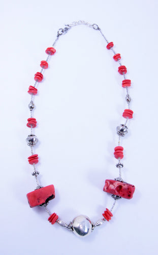 Native American Red Coral Heishi Bead with Sterling Silver Beads Necklace