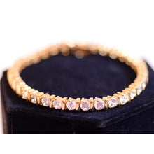 Load image into Gallery viewer, Gold Plated Sterling Silver Link Tennis Bracelet with White Cubic Zirconia Stones