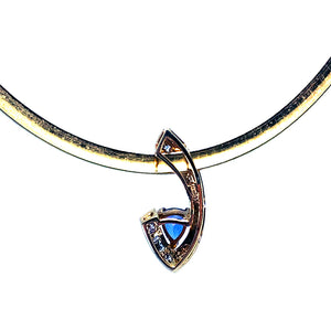 GORGEOUS 14kt Yellow Gold Necklace w/ Tanzanite & Diamond Slide Pendant