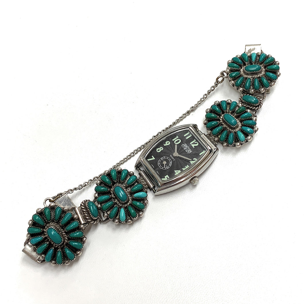 Vintage Zuni Sterling Silver Petit Point Turquoise Bracelet Watch Band