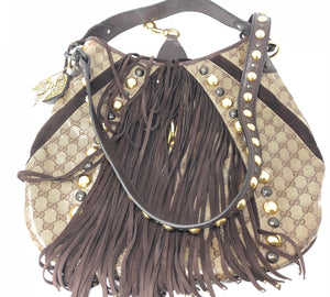 Gucci Beige/Ebony GG Crystal Babouska Large Indy Hobo Bag