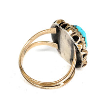 Load image into Gallery viewer, Double Shank Native American 10K & Sterling Silver Bezel set Royston Turquoise Cabochon Ring - Sz. 5¼
