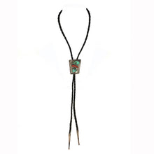 Load image into Gallery viewer, Vintage Navajo Turquoise & Red Branch Coral Bolo Tie