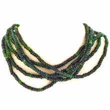 Load image into Gallery viewer, Beautiful Tourmaline 6-strand Bead Necklace w/ 18K gold Hook Closure