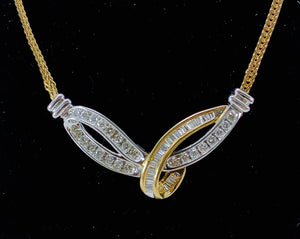 Stunning 14K White & Yellow Gold Channel Set Diamond Necklace