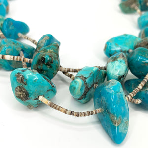 BEAUTIFUL Vintage Native American Turquoise 3 Strand Santo Domingo Nugget Squaw Wrap Necklace