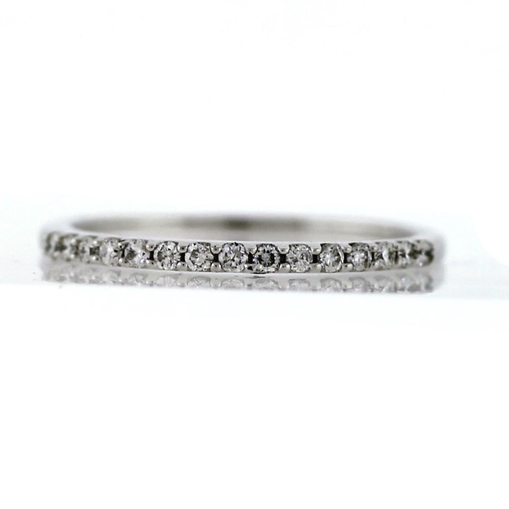 Vintage 14K White Gold Half-Eternity 0.15ctw Diamond Wedding Band - Sz. 8¼