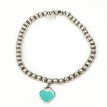 Load image into Gallery viewer, Tiffany & Co. Return To Tiffany Sterling Silver Blue Enamel Mini Heart Tag Bead Bracelet