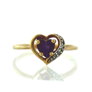 14K Yellow Gold Amethyst Heart and Diamond Ring - Sz. 6