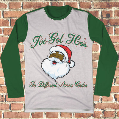 Black Santa Ho's Different Area Codes Ugly Christmas Style Long Sleeve - Naughty Christmas Shirt