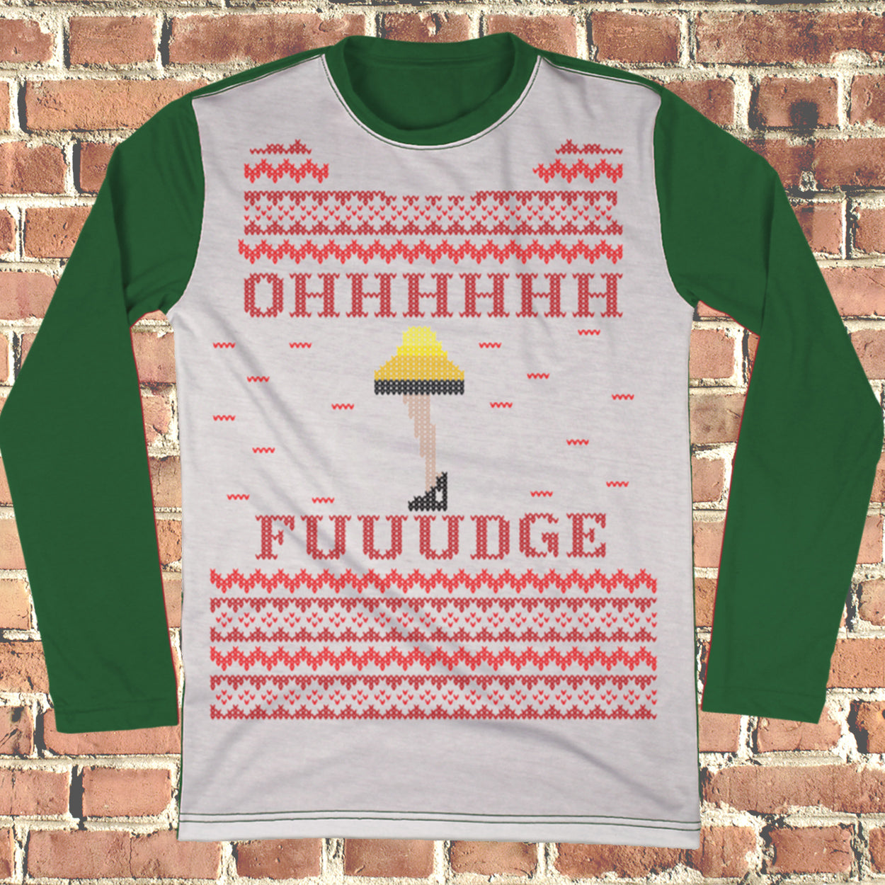 Ohh Fudge Ralphie Ugly Christmas Style Long Sleeve - Christmas Story Movie Shirt