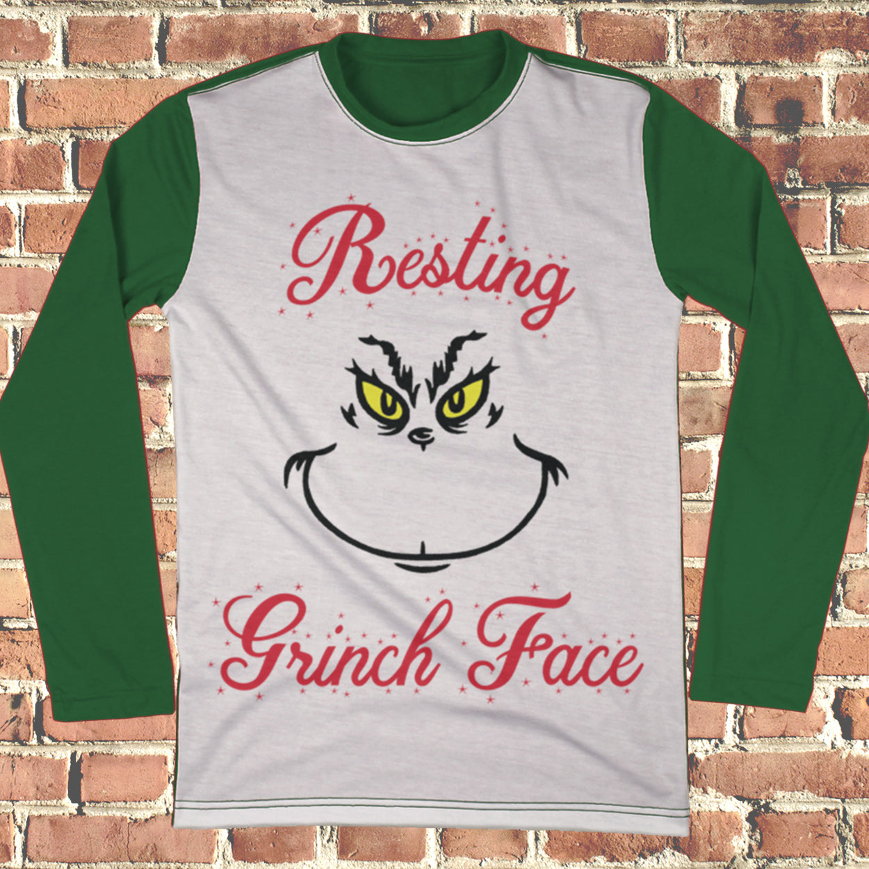 Resting Grinch Face Ugly Christmas Style Long Sleeve - Grinch Christmas Shirt