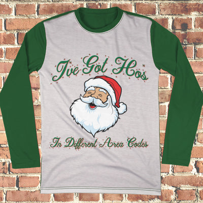 Santa Ho's Different Area Codes Ugly Christmas Style Long Sleeve - Naughty Christmas Shirt