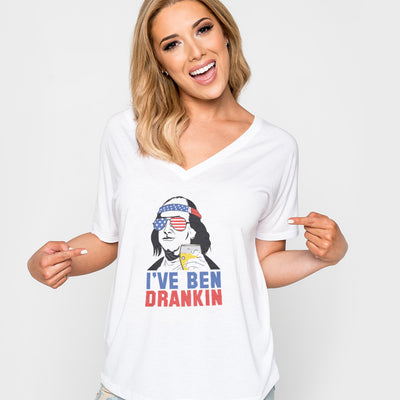 4th of July_I've been dranklin Anvil Ladies' V-Neck T-Shirt