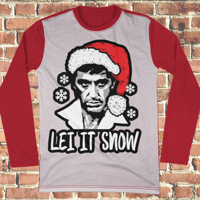 Let It Snow Scarface Ugly Christmas Style Long Sleeve - Scarface Movie Christmas Shirt