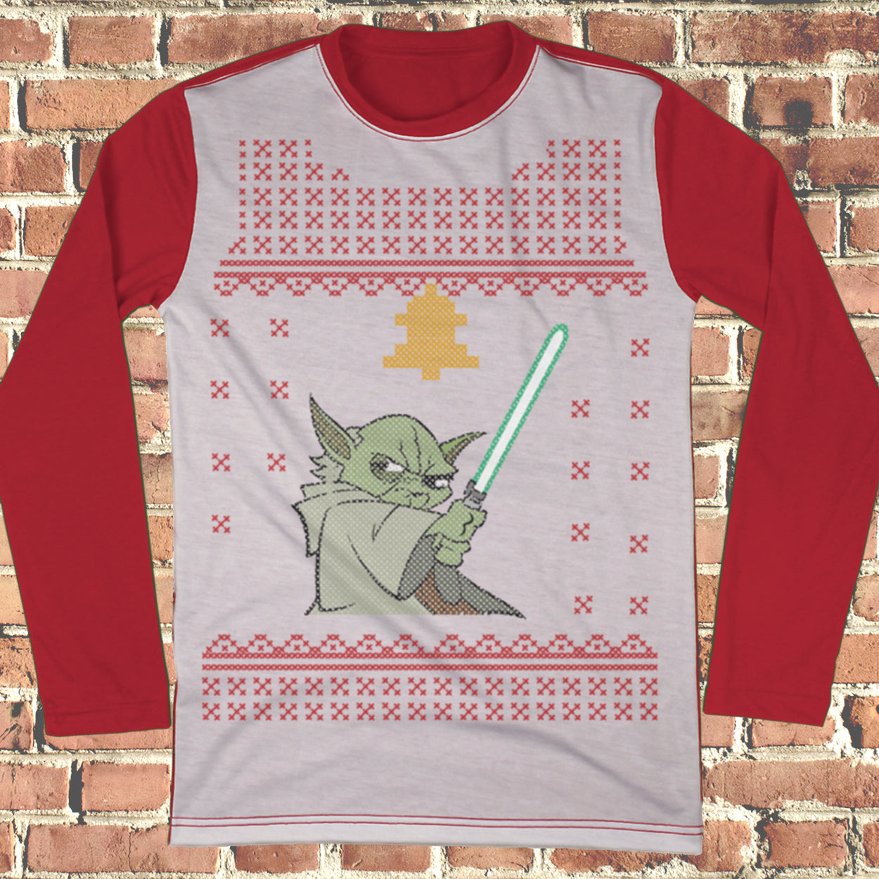 Fighting Yoda Ugly Christmas Style Long Sleeve - Star Wars Movie Christmas Shirt