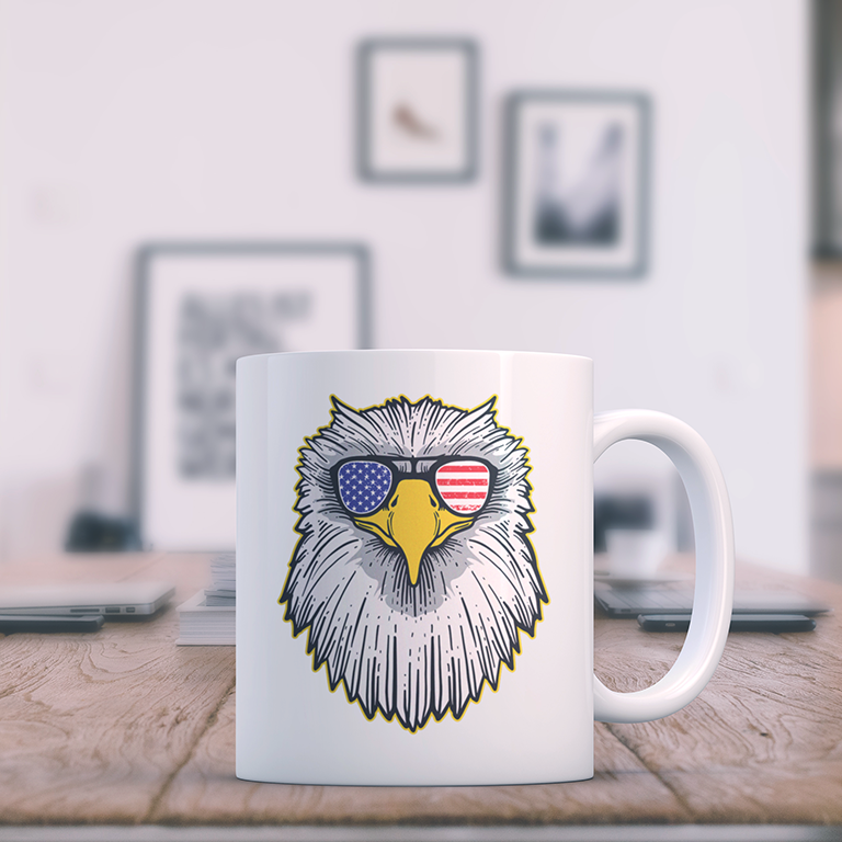 Patriotic - Eagle and Shades 15 oz. White Mug