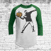 Artful Pumpkin Thrower Youth All Over Print 3/4 Sleeve Raglan