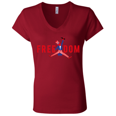 4th of July_FREEDOM Bella + Canvas Ladies' Jersey V-Neck T-Shirt