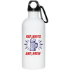 Patriotic - red white and brew 20 oz. Stainless Steel Water Bottle